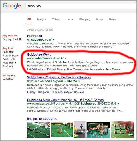 SEO Google Subbuteo